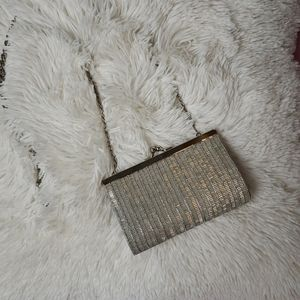 Silver Beaded La Ragale Formal Purse